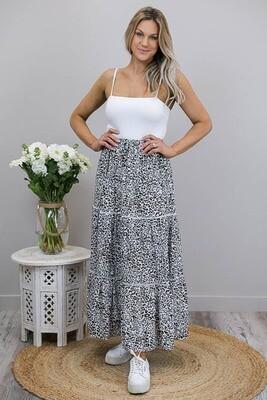 Anastasia Trim Maxi Skirt - White/Black Latte Leo
