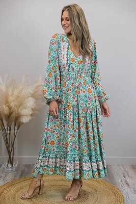 Chateau L/S BoHo Maxi Dress - Mint/Autumn Floral