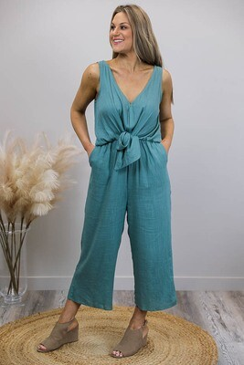 Serenas Choice Tie Front Jumpsuit - Jade