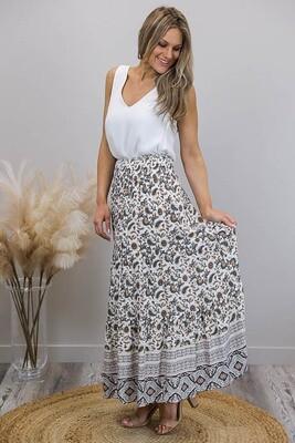 Cinnamon Pod Tier Maxi Skirt - White/Choc Paisley