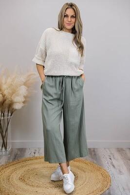 Iggy Bop Pants - Khaki Linen Blend