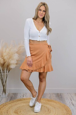 Axel Faux Wrap Frill Trim Mini Skirt - Tan Linen Blend