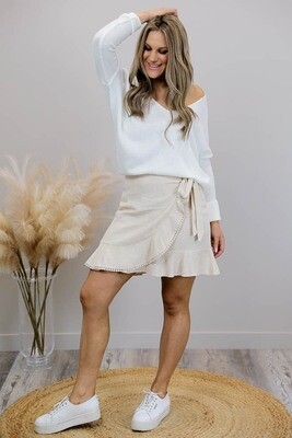 Axel Faux Wrap Frill Trim Mini Skirt - Natural Linen Blend