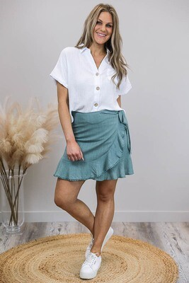 Axel Faux Wrap Frill Trim Mini Skirt - Dusty Jade Linen Blend