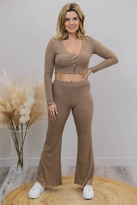 Coco Flare Rib Pants - Chocolate