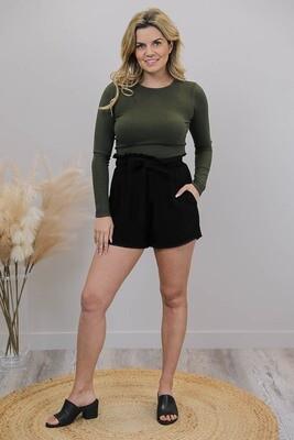 Chi Chi Trim Shorts - Black Linen Blend