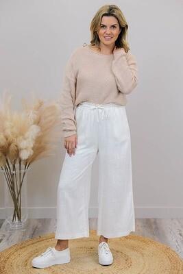 Iggy Bop Pants - White Linen Blend