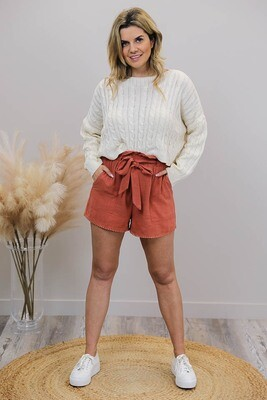 Chi Chi Trim Shorts - Rust Linen Blend