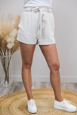 Chi Chi Trim Shorts - Natural Linen Blend