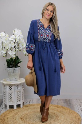 Rosie Embroidered 3/4 Sleeve Midi Dress - Light Navy