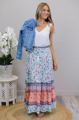 Hyawatha Maxi Skirt - Sky/Rusty Floral