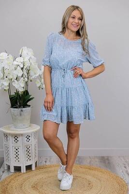 Posie S/S Miniish Dress - Cornflower Blue/Blush Fleur