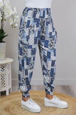 Harem Pants - White/Blue Multi Patch