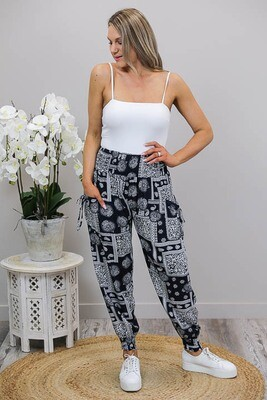 Harem Pants - Navy/White Border Bloom
