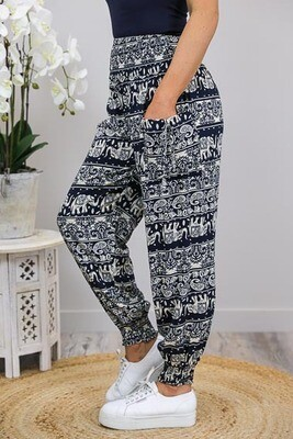 Harem Pants - Navy/Latte Elephant