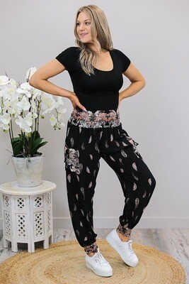 Harem Pants - Black/Blush Leaves