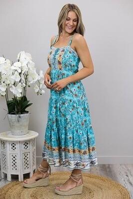 Hello Dolly BoHo Singlet Midi Dress - Teal Fleur