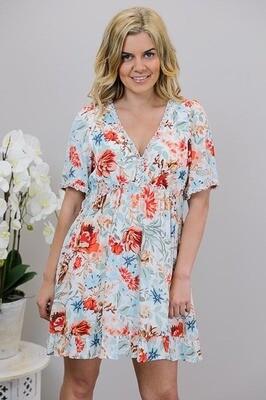 Fru Fru Frill Mini Dress - White/Rusty Bloom