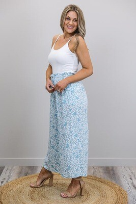 Buffy Frill Top Pants - Aqua/White Petite Fleur