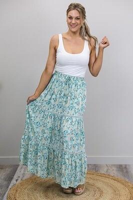Anastasia Trim Maxi Skirt - Mint/Rust Fleur