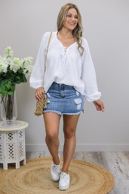 Summer Daze BoHo Lace Up Top - White