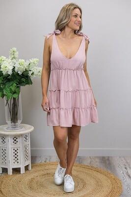 Jackie Frill Tier Mini Dress - Blush