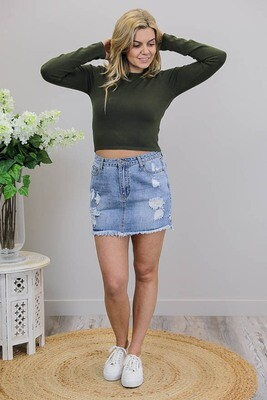 Cutie Patootie L/S Crop Knit Top - Khaki