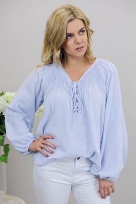 Summer Daze BoHo Lace Up Top - Blue Lilac