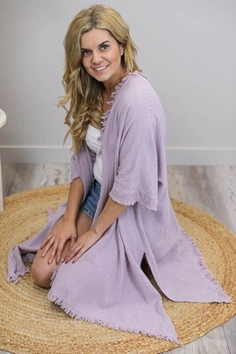 Beach Babe Cover Up Fray Cape - Blush Mauve