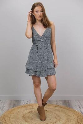 Sally Singlet Wrap Dress - Black/White Micro Splodge