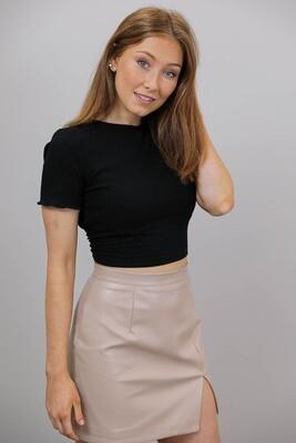 Cordelia S/S Rib Lace Back Crop Top - Black