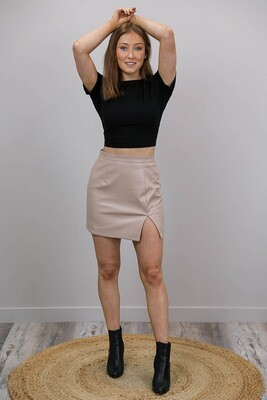 Chiara PU Leather Mini Skirt - Latte