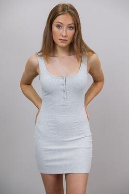 Caz Rib Scoop Mini Dress - Gray