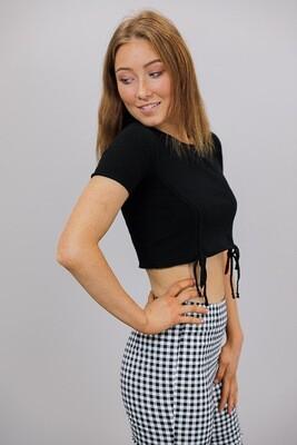 Jen Drawstring Knit Crop Top - Black