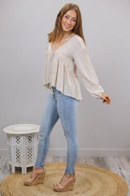 Ladybird Raw Edge Boho Top - Bone