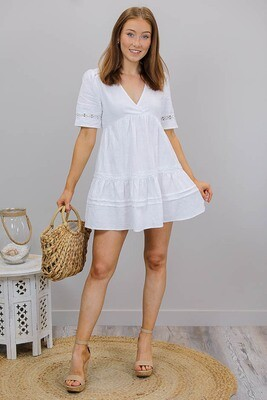 Ariel S/S Embroidered Cotton Blend Mini Dress - White