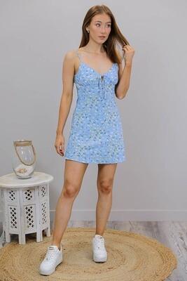 The New Sassy As Mini Dress - Sky Blue/White Fleur