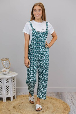 Outrigger Button Overalls - Jade/White Petite Fleur