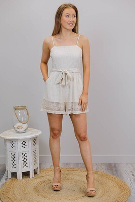 Jingles Crochet Trim PlaySuit - Natural Linen Blend