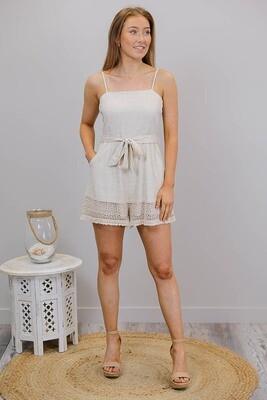 Jingles Crochet Trim PlaySuit - Natural Linen Blend