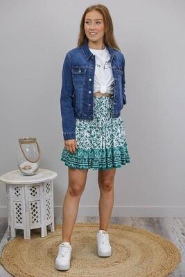 Verve Frill Tier Mini Skirt - White/Emerald Fleur