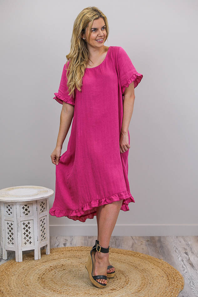 Charmed Frill Linen Midi Dress - Fuschia