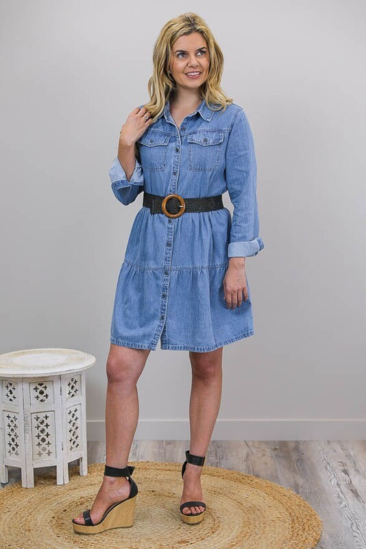 Tania Tier Dress/Jacket - Mid Denim