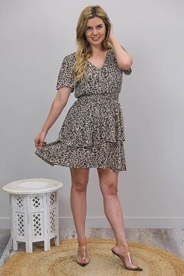 Sheila Tier S/S Miniish Dress - Choc Leo