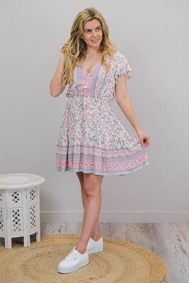 Chateau S/S BoHo Mini Dress - Cream/Periwinkle Floral