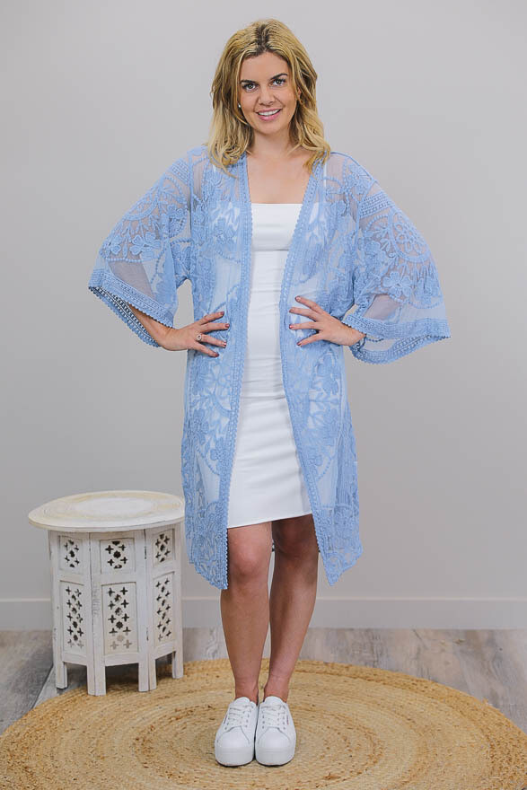 Summer Dreaming Lace Cape - Antique Blue