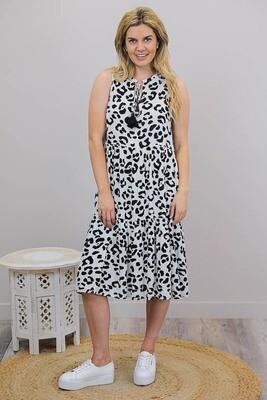 Bingo Tier Midi Dress - White/Black Macro Leo