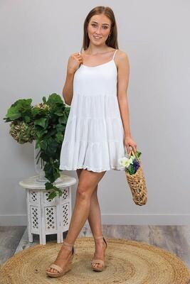 Tina Tier Linen Blend Mini Dress - White