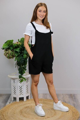 Sing All Day Trim Knot Playsuit - Black Linen Blend