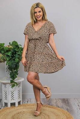 Isla Crossover Frill S/S Miniish Dress - Tan Leo